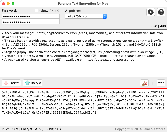Paranoia Text Encryption for Mac