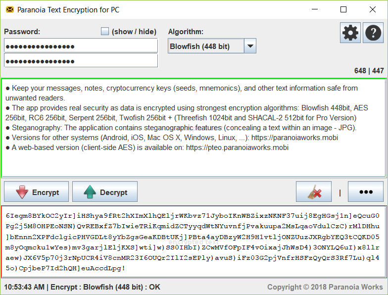 Paranoia Text Encryption for PC 12R5E Screen shot