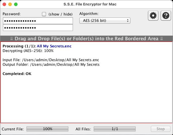 S.S.E. File Encryptor for Mac Screenshot