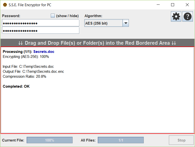 S.S.E. File Encryptor for PC Screen shot