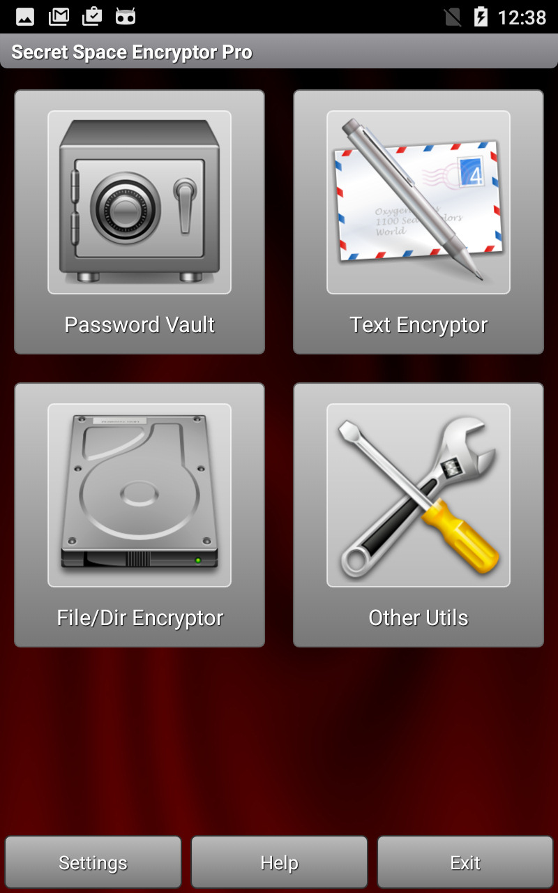 Secret Space Encryptor for Android - Main Page